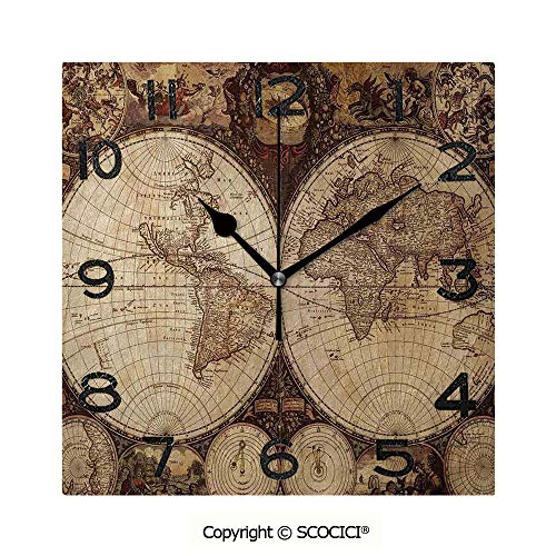 SCOCICI 8 inch Square Clock Old World Map Made in 1720S Nostalgic Style Art Historical Atlas Vintage Decor Unique Wall Clock-for Living Room, Bedroom or Kitchen Use