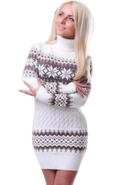 fd7ce89efcc0 Vestito in Maglia Donna Inverno Mini Abito Tubino Elegante Pullover Lungo  Collo Alto Simpatici Vestiti Maglione