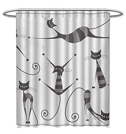 Anhuthree Cat Shower Curtain Collection By Furry Skinny Striped Cats In Several Funny Body Postures Whiskers