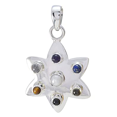 6df15a8ee8 Buy Real Gemstone Multi Solid Silver Pendant, Highest Jewelry Solid Silver  Pendant Good Pendants Online at Low Prices in India   Amazon Jewellery Store  ...