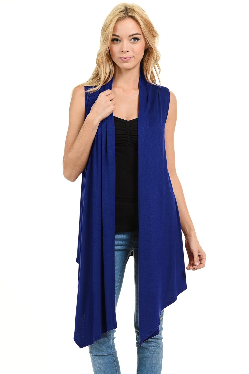 iconic luxe Women's Soft Premium Jersey Sleeveless Asymmetrical Open Front Cardigan 3031-45RB1XL
