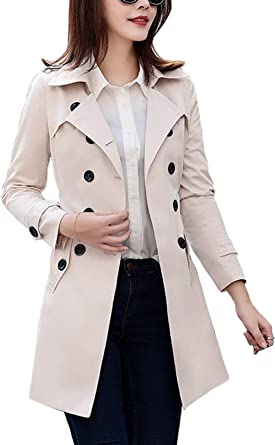 Amazon.com: FARVALUE Women's Double Breasted Trench Coat Water Resistant  Classic Belted Lapel Overcoat: Clothing