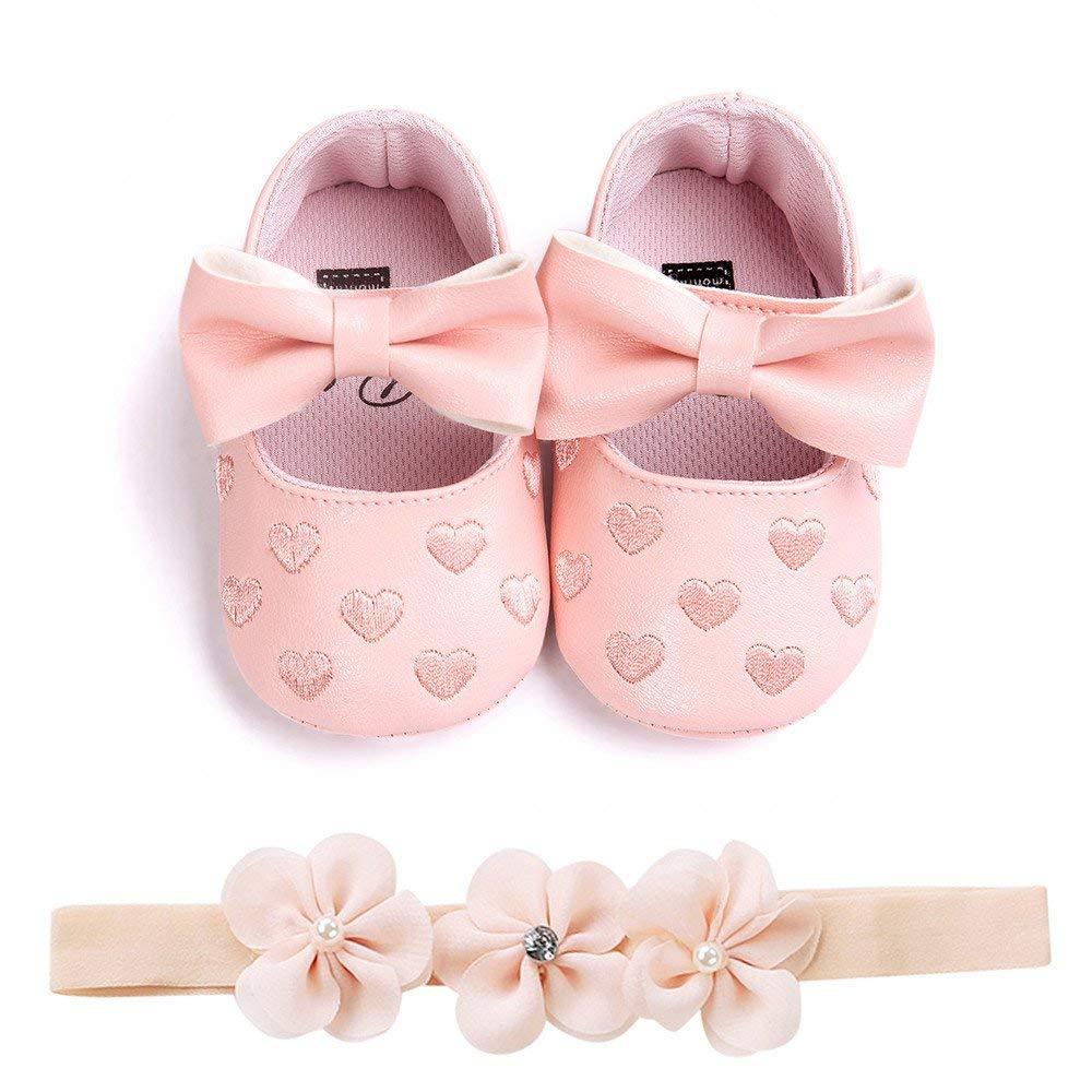 Stirnband Sandale 0-6 12-18 Monate Babyschuhe 6-12 JUNMAONO Kinderschuhe 2 ST/ÜCK Schuhe Baby M/ädchen Erste Schritte Schuhe Prinzessin Leder Stickerei Herz Bogen Weiche Anti-Slip