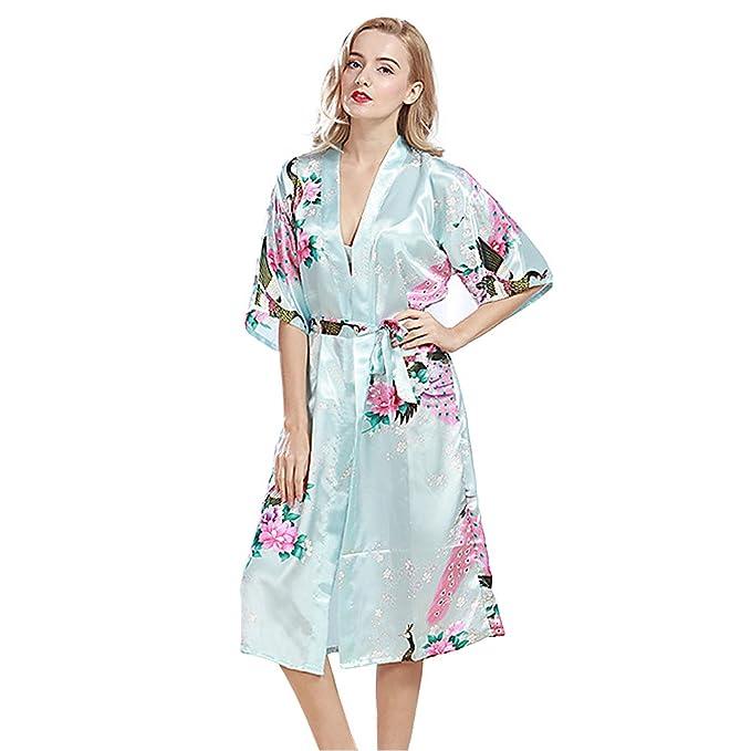antaina Azul claro Lencería Pijama Albornoces Kimono Vestido Largo de Satén de Spa de Estampado Pavo