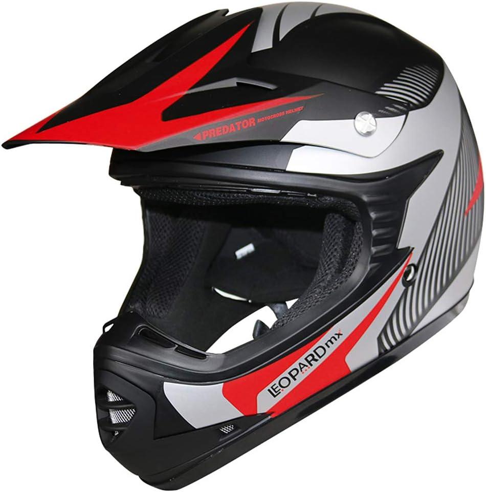 S X17- Vert Leopard LEO-X17 Enfant Casque de Moto Casques Motocross Bicyclette ATV MX VTT Junior Sports ECE 22-05 Approbation 49-50cm