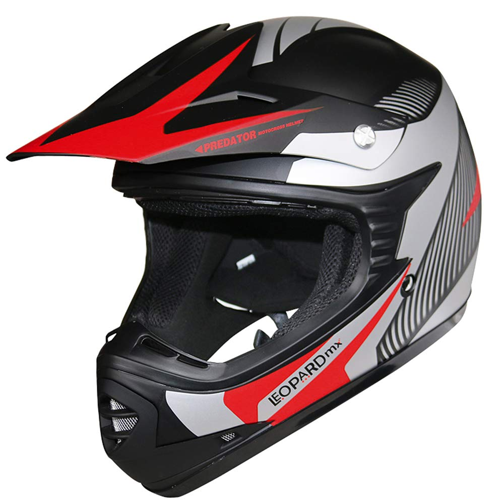 Brand:Leopard 53-54cm Black L - Off Road ECE-2205 Approved LEO-X15 Children Kids Motocross Full Face Motorbike Helmet