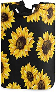 Baofu Sunflower Laundry Hamper Large Dirty Foldable Clothes Bags Waterproof Durable Lightweight Oxford Round Collapsible Storage Basket Organization with Handles for Home Bathroom Bedroom