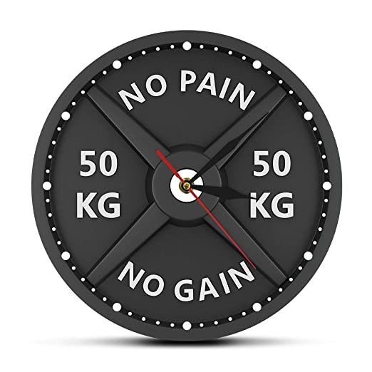 QWAYIM Reloj De Pared Sin Dolor Sin Ganancia 50Kg Barbell 3D Reloj ...