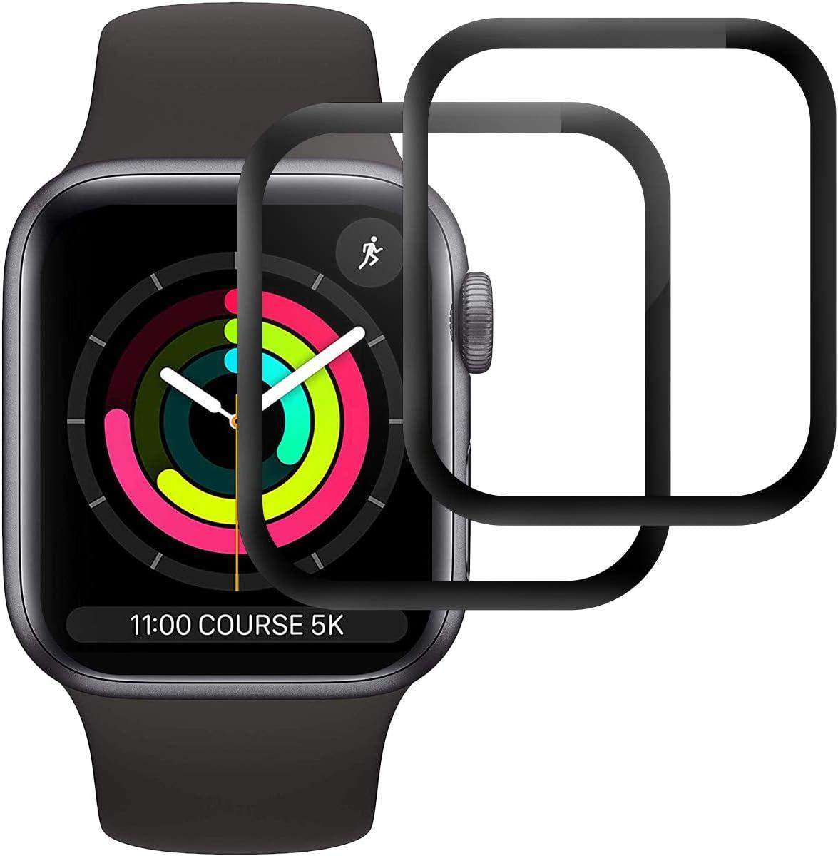 RIIMUHIR Cristal Templado para Apple Watch Series 5/Series 4 44mm,[2 Unidades] [3D Cobertura Completa] [Sin Burbujas] [Dureza 9H] Protector Pantalla para iWatch Series 5/Series 4 44mm