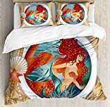 Mermaid Decor Duvet Cover Set King Size by Ambesonne, Mermaid in Porthole Window Aquatic Cockleshell Mythology Yacht Nautical, Decorative 3 Piece Bedding Set with 2 Pillow Shams
