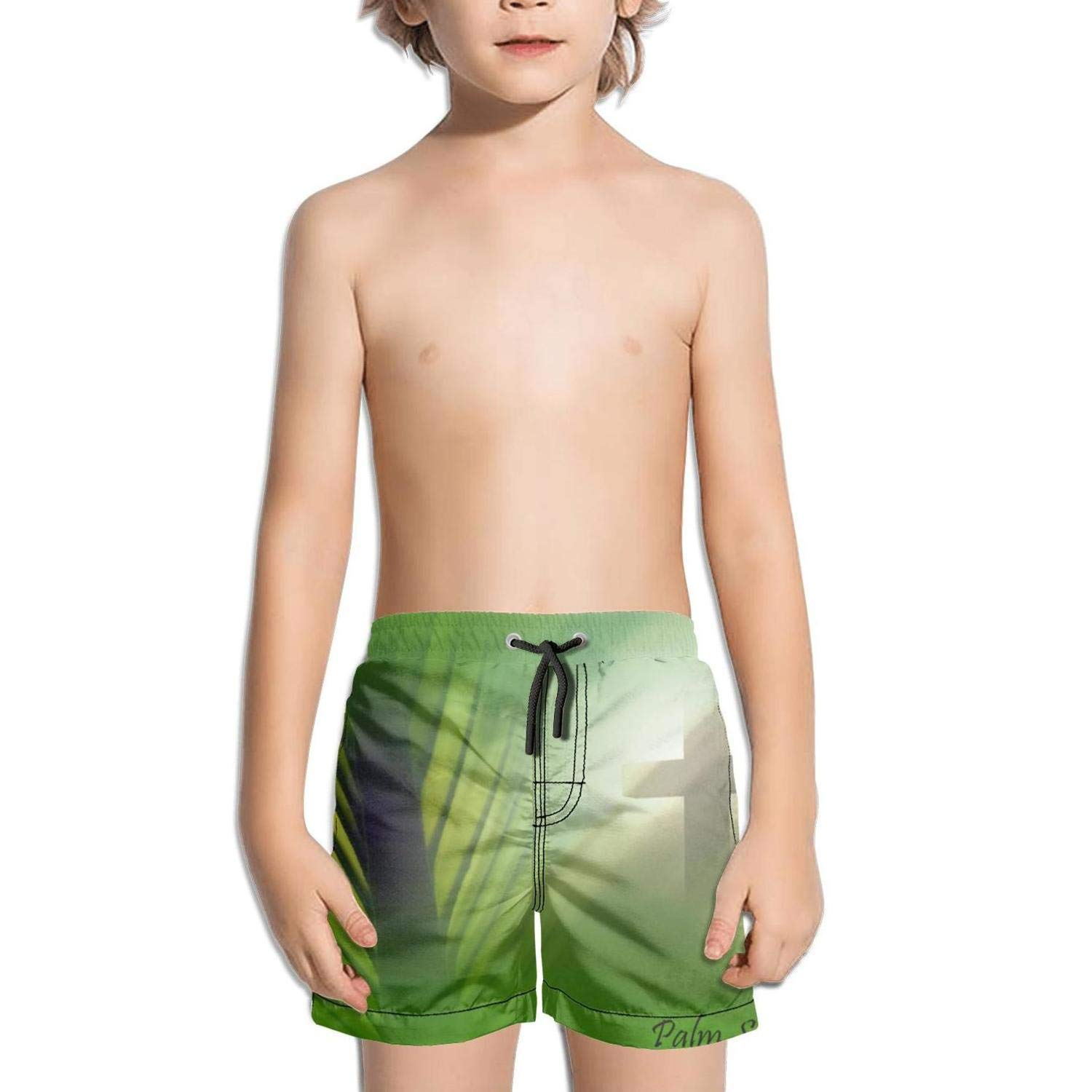 rtyil Palm Sunday Jerusalem Mural Kids Swimming Trunks Printed Swim Shorts for Boys Ruched Beach Shorts for Girls