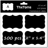"ThxToms 100Pcs Chalkboard Labels, High-class Waterproof and Rewritable Stickers for Jars, Folders Classification, 2"" x 1.4"", A"