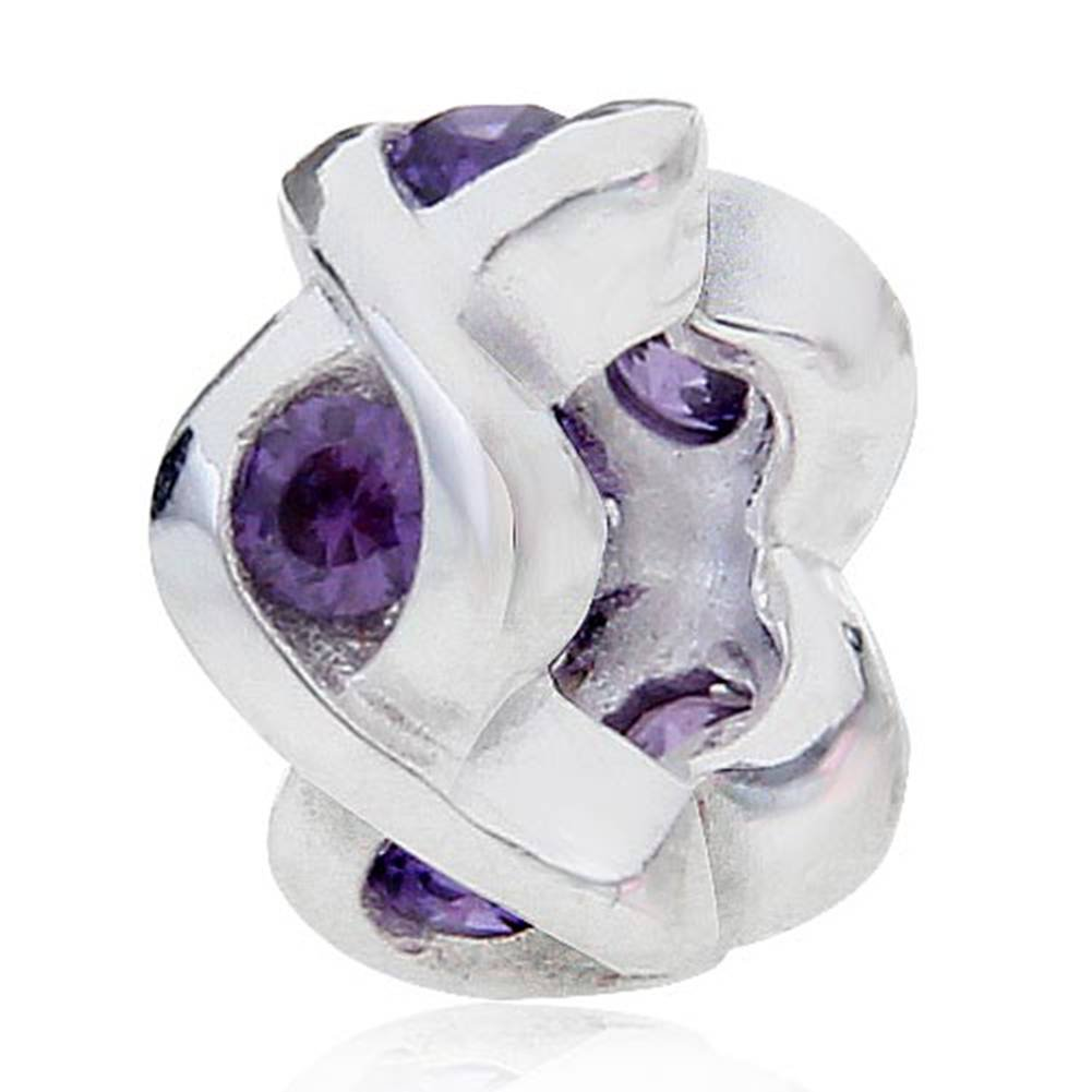 Soulbead Spacer Charm with Birthstone 925 Sterling Silver Bead Floating Charm for European Woman Bracelet Jewelry (purple stone) Xiaocen