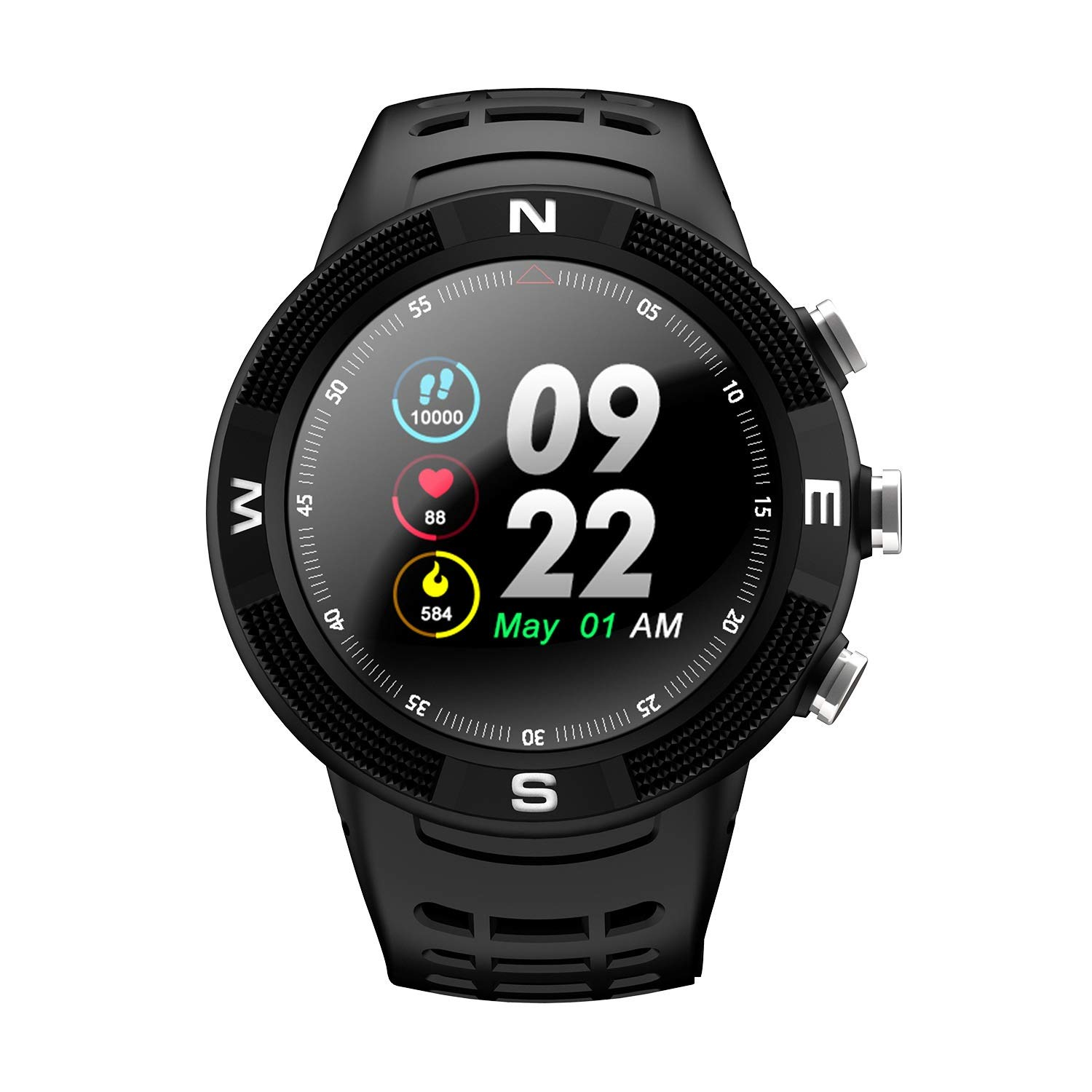 Smart Watch - Waterproof Bluetooth Stylish Touch Screen Smart Watch, GPS Positioning, Outdoor Sports Smart Watch, Compatible with Android and iOS Platforms (Color : Black)