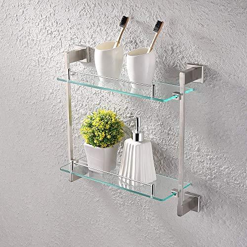 KES Bathroom Glass Shelf 2 Tier 16-Inch Tempered Glass Shower Caddy Bath - With Shelf Commercial Mirrors Bathroom