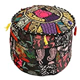 Icrafts Home Decorative Ottoman Handmade Pouf,Indian Comfortable Floor Cotton Cushion Ottoman Cover Embellished With PatchWork And Embroidery Work,Indian Vintage Ottoman Turquoise Pou (design1)
