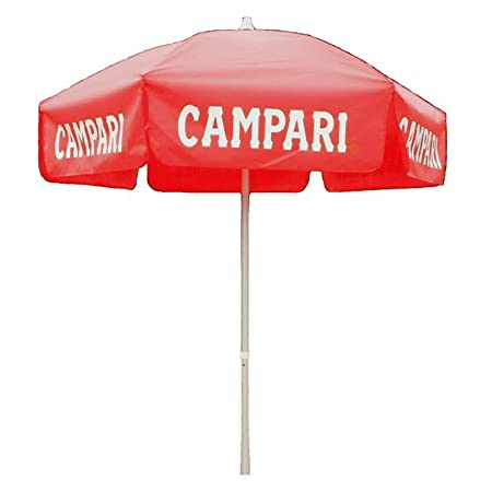 6 Foot Campari Red Push/Tilt Vinyl Outdoor Umbrella - Patio Pole