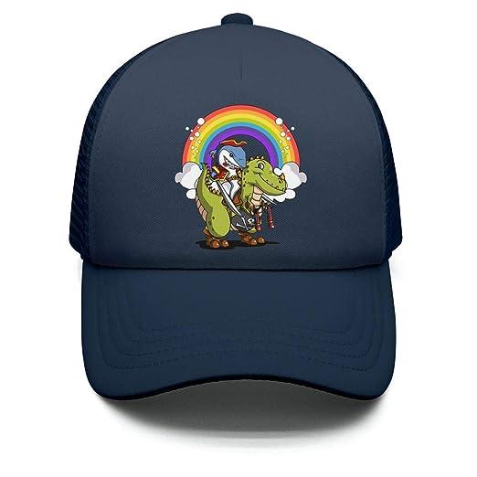 Shark Pirate Riding T-Rex Dinosaur Rainbow Teens Adjustable Baseball Hats  for Children Airy Mesh b1a6a5e49355