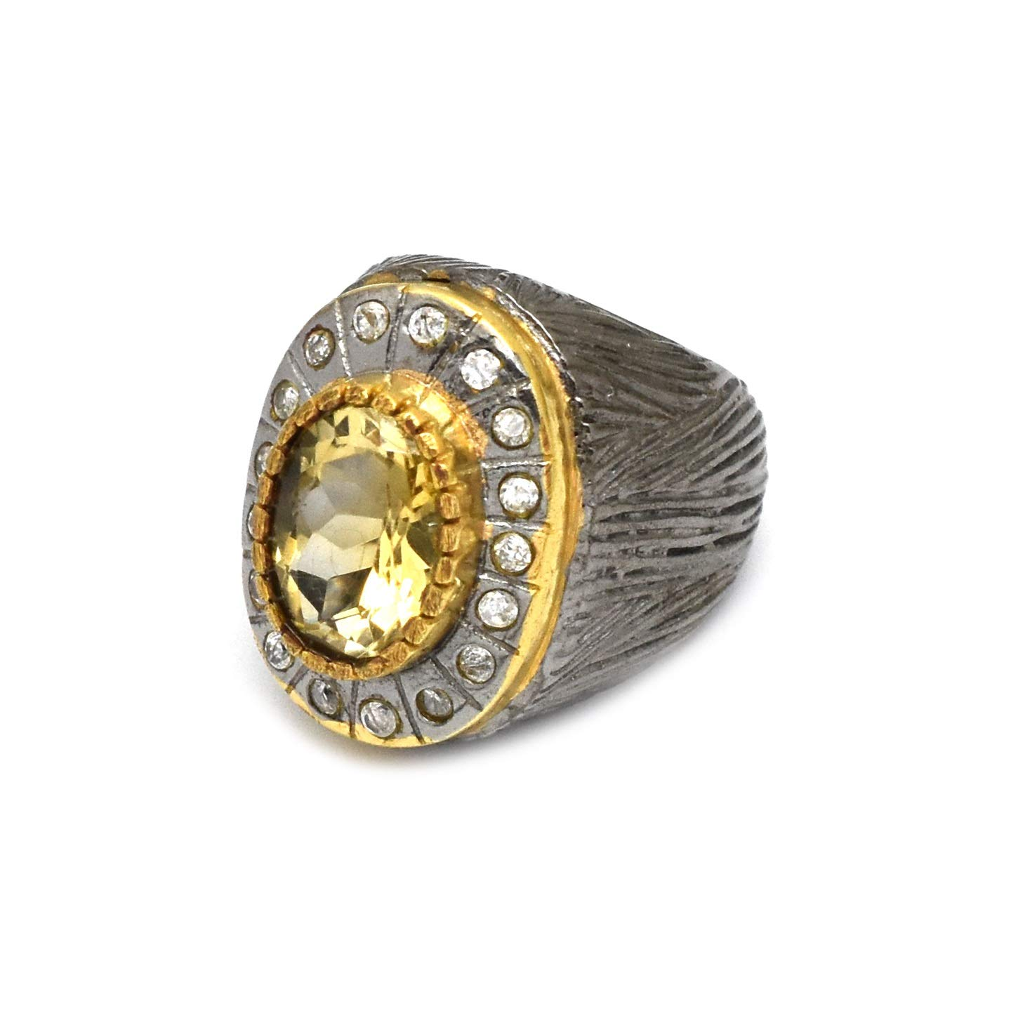 Black Rhodium Plated Citrine Collection The Rings 22k Yellow Gold V White cz Fashion Jewelry Rings Gifts for her
