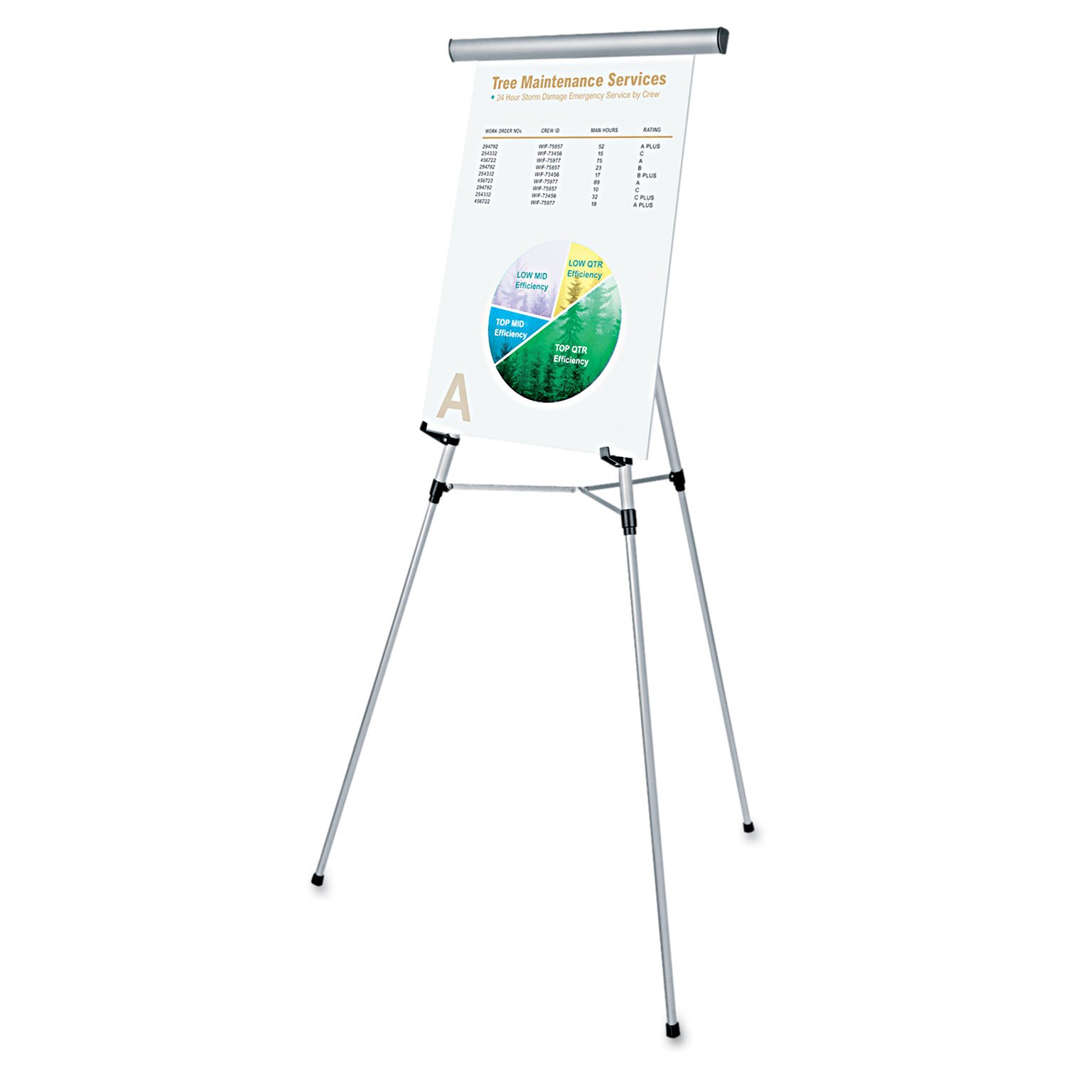 Universal 43050 3-Leg Telescoping Easel with Pad Retainer, Adjusts 34'' to 64'', Aluminum, Silver