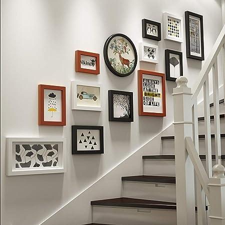 Escaleras de combinación de Madera Maciza Fondo de Foto Creativo Decoración de Pared Marco de Fotos Collage 13 Marco de Fotos (Color : Brown): Amazon.es: Hogar