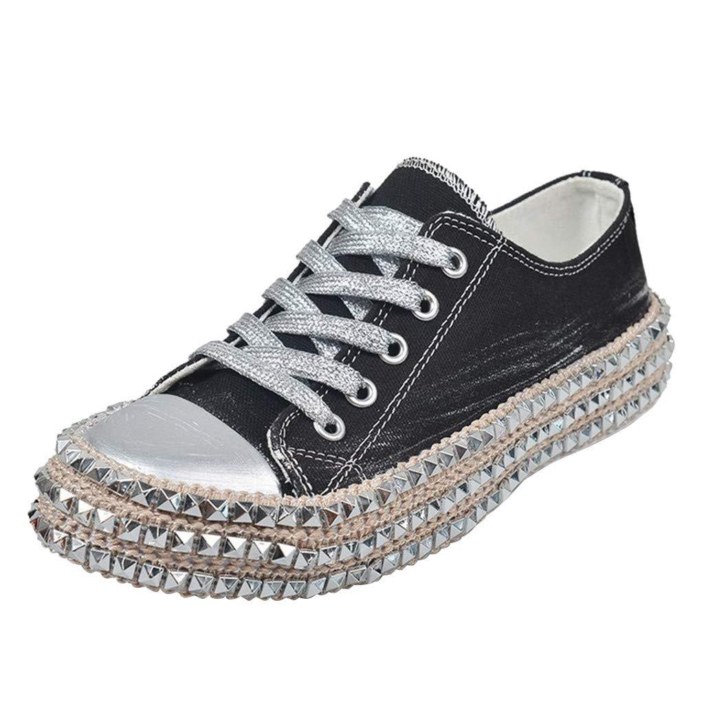 Fheaven Casual Lace-Up Low Top Rivet Trim Shoes Leopard Hemp Rope Thick Bottom Canvas Sneakers Shoes Black by Fheaven-shoes