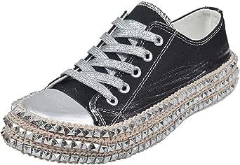Milamy Women Leopard Print Canvas Shoes Lace-Up Low Top Sneaker Lace-up Non Slip Shoes Classic-Fit Casual Shoes Black