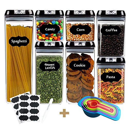 Airtight Food Storage Containers With Lids,Teromas BPA Free 7 Pieces Food Container Set For Pantry Organization And Storage Including 16 Pcs Chalkboard Lables
