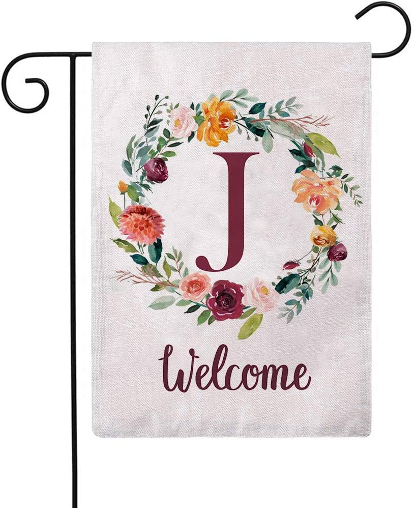 ULOVE LOVE YOURSELF Letter J Garden Flag with Flowers Wreath Double Sided Print Welcome Garden Flags Outdoor House Yard Flags 12.5 x 18 Inch