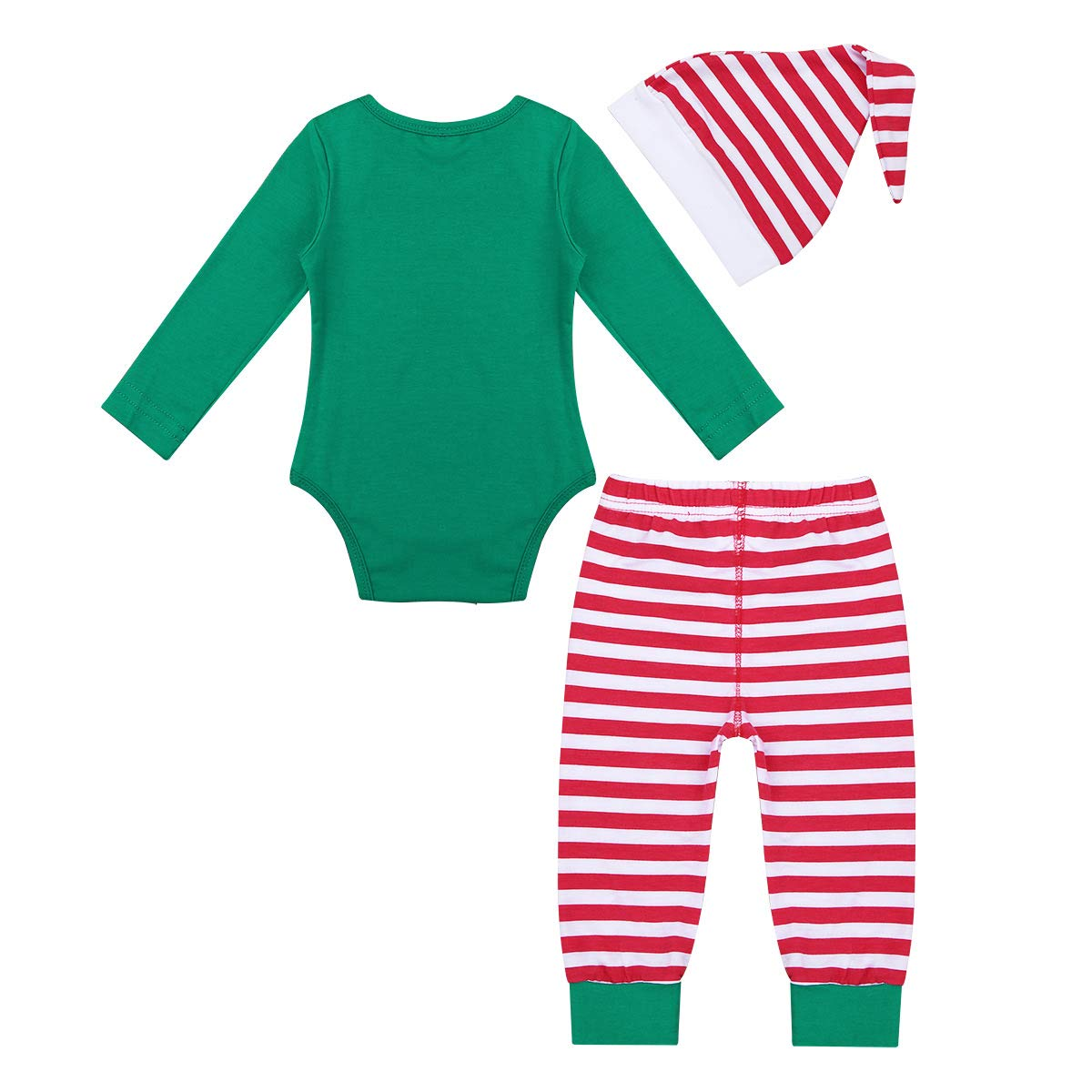 Freebily Baby Boys Christmas Elf Costume Festive Outfits Party Fancy Dress up Romper with Pants Hat Set Green 0-3 Months