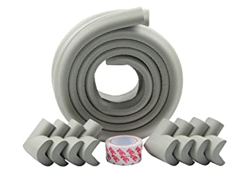 Gray 2 Meters DIY Tools DierCosy Baby Safety Protective Gear Table Side Shield Safety Anti-Collision Strip Corner Protection Strip with self-Adhesive Tape