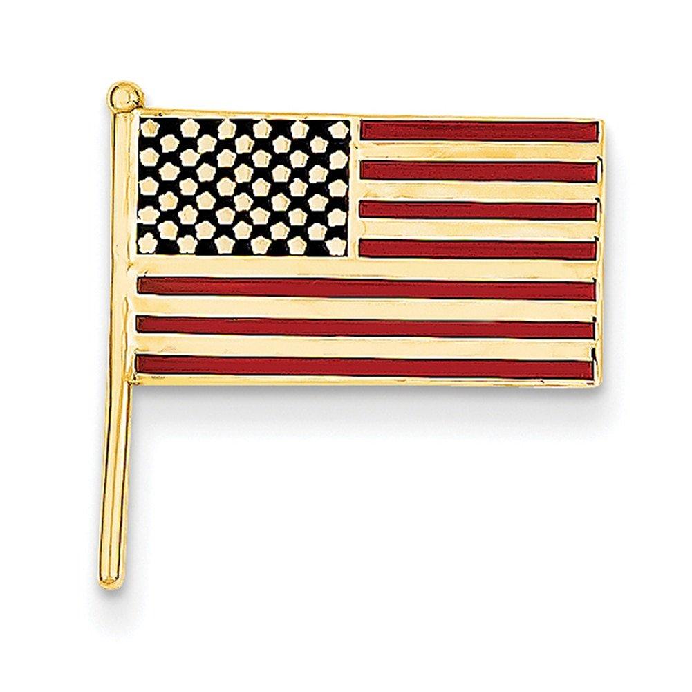 Lex /& Lu 14k Yellow Gold Enameled Flag Tie Tac LAL83185