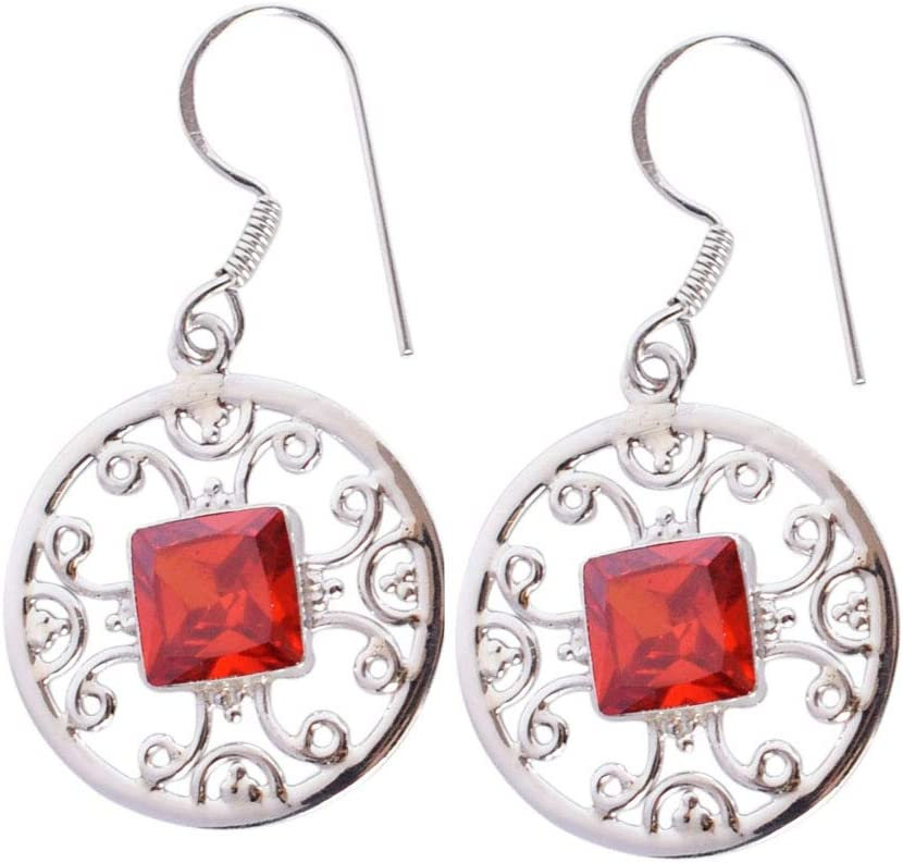 Pendientes redondos de cuarzo rojo, hechos a mano, plata de ley 925 maciza, joyería de moda, FSJ-3234