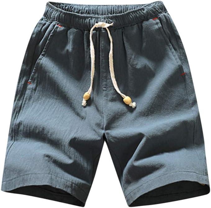 YEBIRAL Pantalones Cortos Hombre, Algodón Color sólido con cordón ...