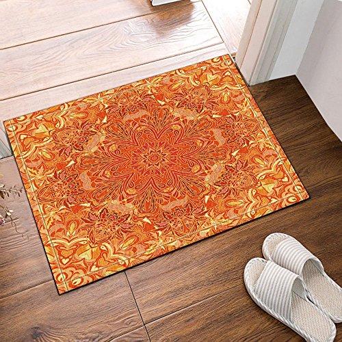 Dimensions Runner Rug - GoHeBe Orange Wallpaper Lover Vector Flower Pattern Bath Rugs Non-Slip Floor Entryways Outdoor Indoor Front Door Mat,16X24 Inches Bath Mat