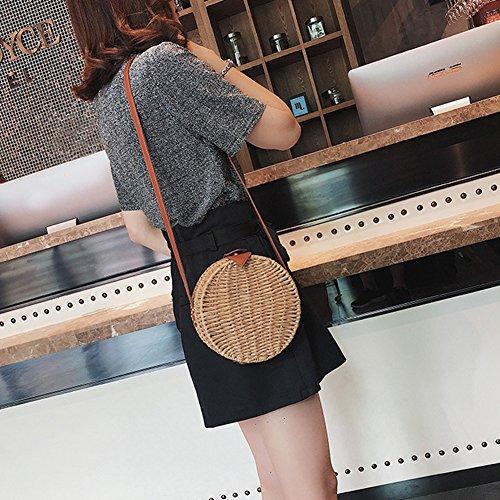 paille demi sac à à sac main lune tissé à bandoulière main bandoulière pour femme à à yunt tissu en Sac sac Sac en bambou main qBPAwXw
