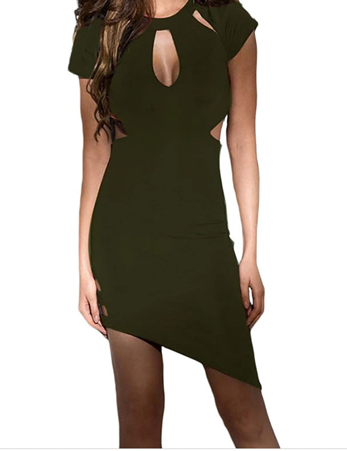 F&Q Real Army Green Sexy Funky Asymmetrical Hemline Cut out Slash Dress
