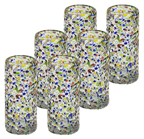 Mexican Hand Blown Glass Confetti Shots Tequila - Original Artisan (Set of ()