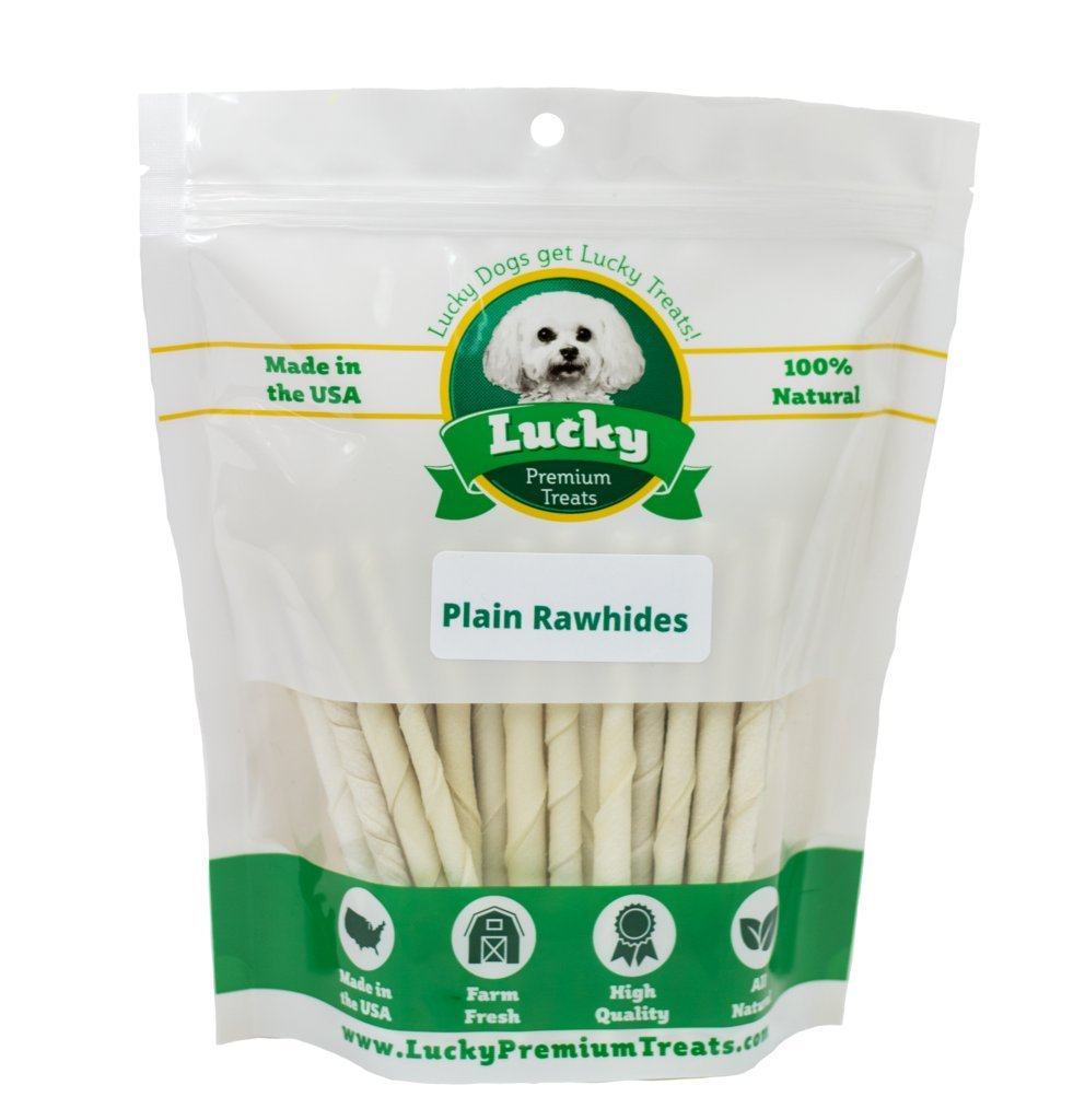 Lucky Premium Treats Plain Rawhide Dog Treats for Small Dogs Made in The USA Only, 70 Chews by Lucky Premium Treats
