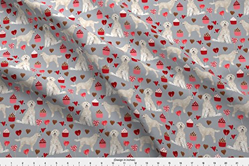 Spoonflower Golden Doodle Fabric Golden Doodle Dog Fabric Valentines Love Hearts Fabric Cute Dogs Design by Petfriendly Printed on Basic Cotton Ultra Fabric by The Yard