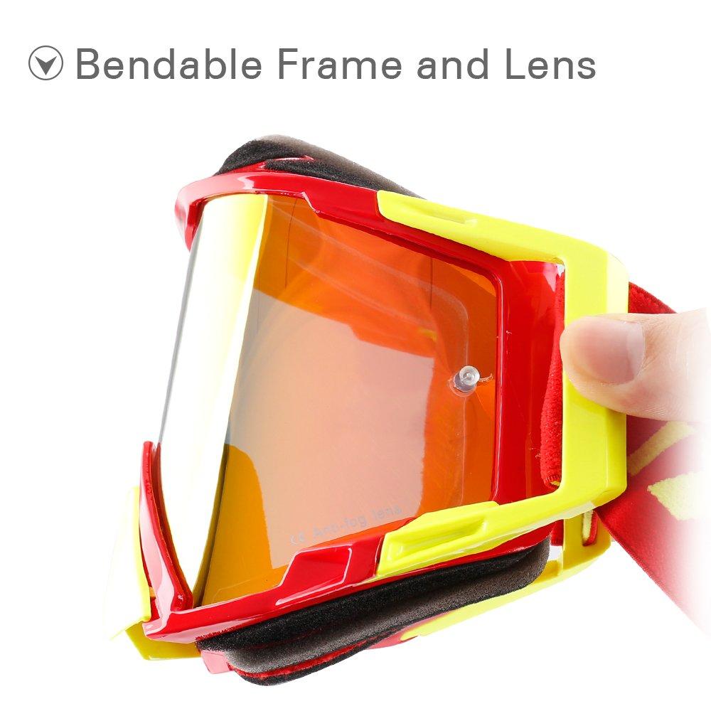 NENKI NK-1025 Motocross Goggle with Iridium Lens for MX ATV Off-Road Dirt Bike OTG Goggles for Men and Women RED YELLOW MATT X
