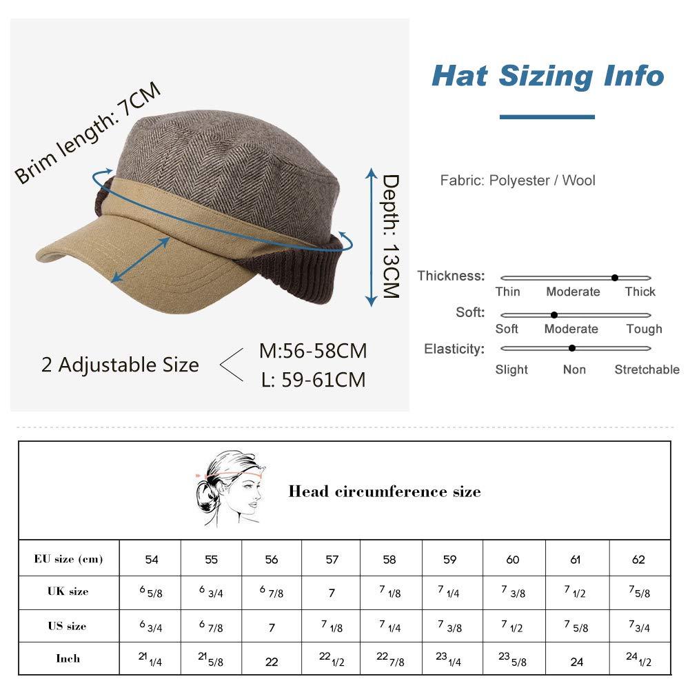 Fancet Adjustable Mens Womens Army Military Winter Combat Hat Baseball Cadet Cap 56-64cm