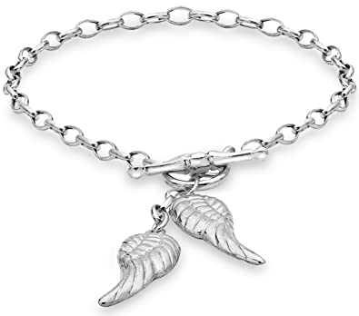 Tuscany Silver Sterling Silver Angle Wings Charms T-Bar Bracelet of 19cm/7.5 FGEhqXT