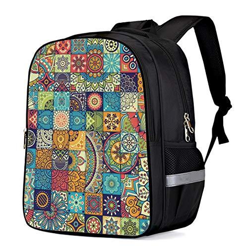 Backpack for Children/Boys/Girls Bohemia Style Colorful Floral Pattern 3D Printing Shool Book Bag Daypacks Satchel Rucksack Hiking Travel Shoulders Bag Fits Laptop- Small