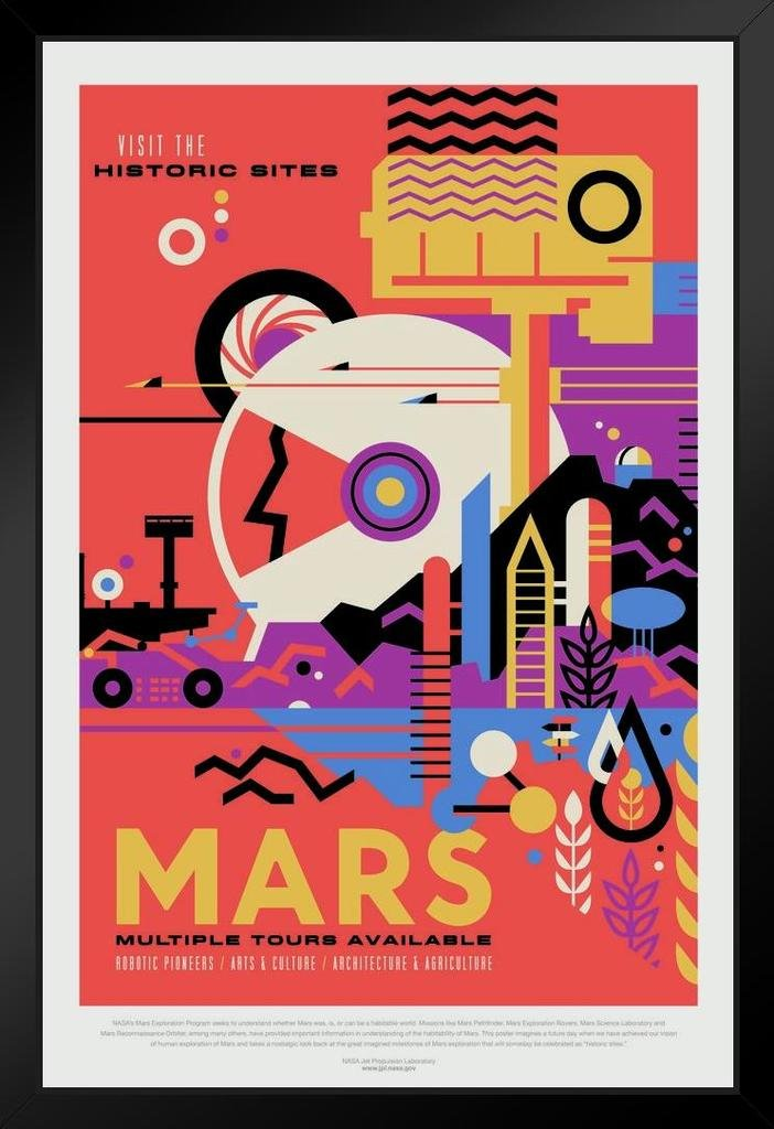 Mars Visit The Historic Sites NASA Space Travel Framed Poster 14x20 inch