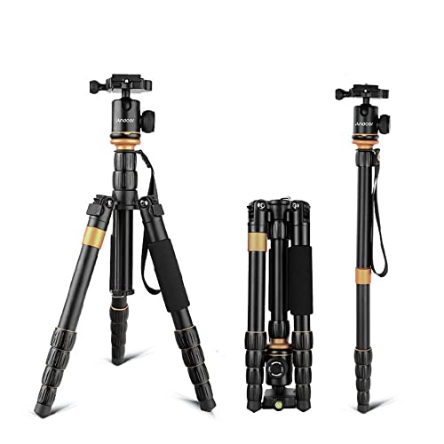 Andoer Aluminum Travel Camera Tripod with Ball Head Max Height 133cm Load 5kg Black
