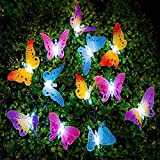 LVOERTUIG 12 Led Solar Powered Butterfly Fiber Optic Fairy String Outdoor Garden Lights Yard Art Garden Decorations Housewarming Gifts(one size, red/yellow/blue/green(mixed))