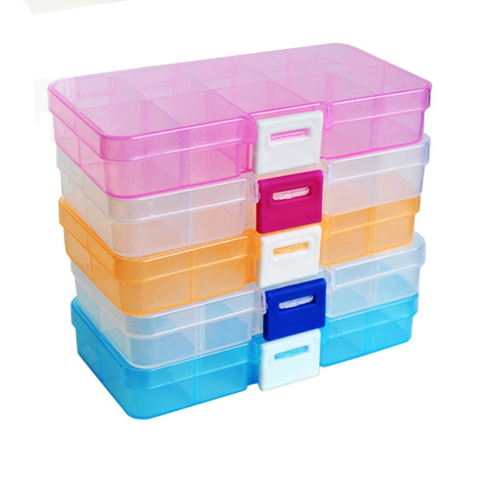 FinalZ 10 Grid Plastic Adjustable Jewelry Box Jewelry Storage Organizer Containers Jewelry Organizer Box with Removable Dividers (2 pcs Random Color) 4336938012