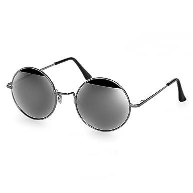 786f6ba1a68e4 CASPAR - SG038 - Lunettes de soleil rondes unisexe style hippie rétro en  métal - verres