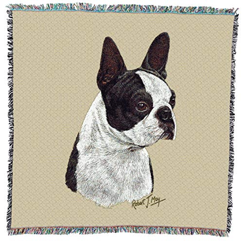 Pure Country Weavers - Boston Terrier Black Dog Woven Blanket with Fringe Cotton USA - Boston Terrier Figurine Dog